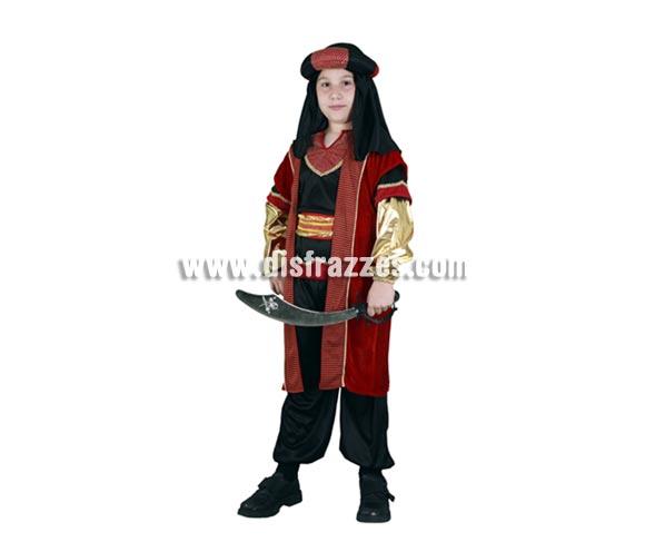 Disfraz de Paje o Sultán Real para Carnaval o para Navidad barato. Talla de 7 a 9 años. Incluye camisa, cinturón, pantalón, casaca y turbante. Disfraz de Paje para Reyes Magos de niño.
