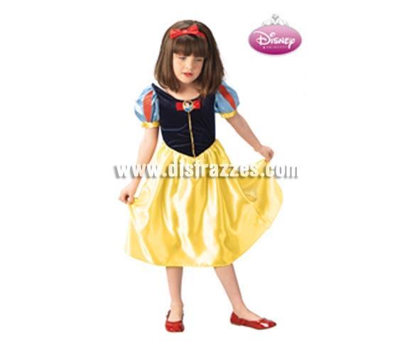 Disfraz de Blancanieves Disney Classic infantil para Carnavales. Talla de 5 a 6 años. Incluye vestido y diadema. Traje de Blancanieves con licencia Disney perfecto como regalo.