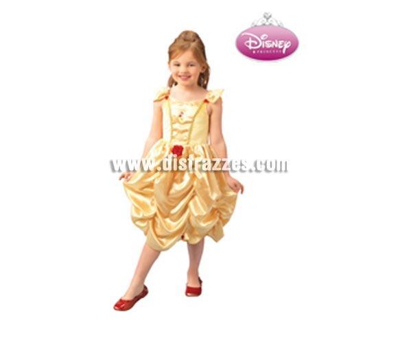 Disfraz Disney de Bella CLASSIC infantil para Carnaval. Talla de 5 a 6 años. Incluye vestido. Traje de la Bella con licencia Disney ideal como regalo.