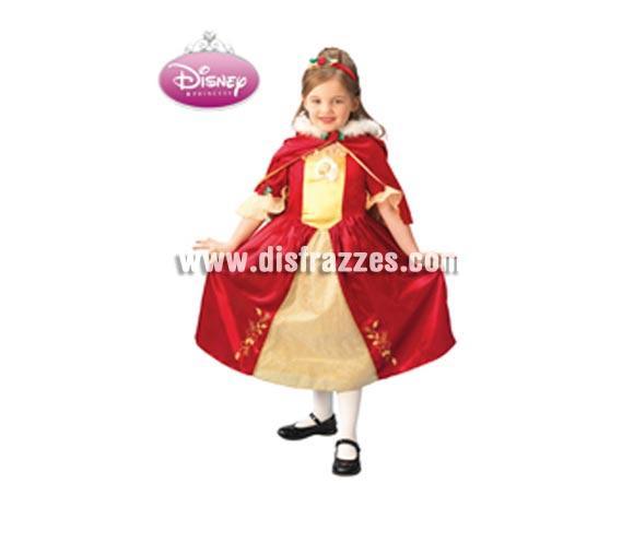 Disfraz Disney infantil de La Bella Rojo PLATINUM para Carnaval. Talla de 5 a 6 años. Incluye vestido, diadema y capa. Traje de La Bella de color rojo con licencia Disney perfecto como regalo.