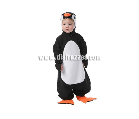 Disfraz de Rey Pingüino Bebé para Carnaval. Talla de 1 a 2 años. Incluye traje, capucha ya cubrezapatos.