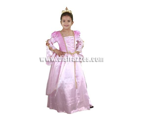 Disfraz de Princesa Rosa infantil para Carnaval barato. Talla de 7 a 9 años. Incluye vestido y tocado.