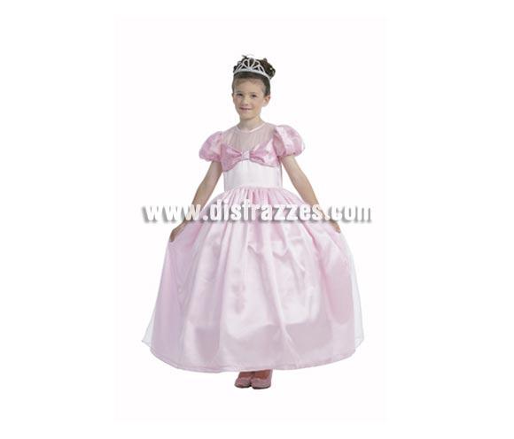 Disfraz de Princesa Rosa infantil para Carnaval. Talla de 7 a 9 años. Incluye vestido y tocado.