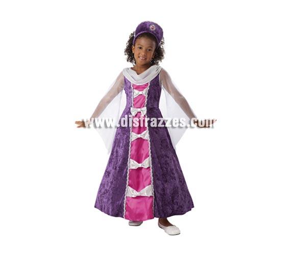 Disfraz de Princesa Lavanda infantil barato para Carnavales. Talla de 7 a 9 años. Incluye vestido y tocado. También es ideal para Ferias Medievales.