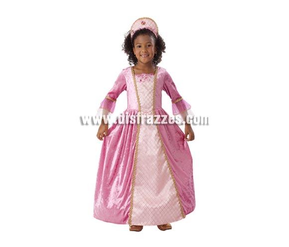 Disfraz de Princesa Rosa con ribetes dorados para Carnaval barato. Talla de 7 a 9 años. Incluye vestido y tocado.