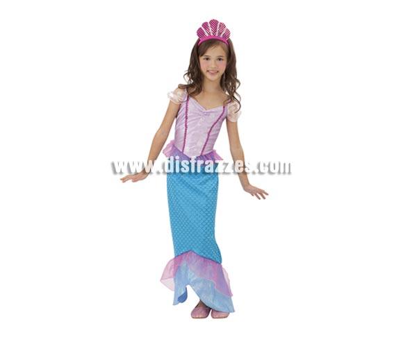 Disfraz de Sirenita infantil barato para Carnaval. Talla de 7 a 9 años. Incluye vestido y tocado. Traje de la Princesa Ariel barato perfecto para Carnaval y como regalo en Navidad, en Reyes Magos, para un Cumpleaños o en cualquier ocasión del año. Con éste disfraz harás un regalo diferente y que seguro que a los peques les encantará y hará que desarrollen su imaginación y que jueguen haciendo valer su fantasía.  ¡¡Compra tu disfraz para Carnaval o para regalar en Navidad o en Reyes Magos en nuestra tienda de disfraces, será divertido!!