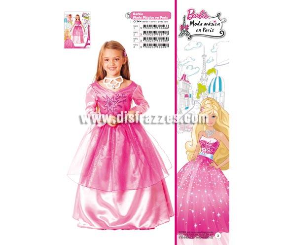 Disfraz de Barbie Moda Mágica en Paris infantil para Carnaval. Varias tallas. Incluye vestido, collar y pinza para el pelo. Traje con licencia Barbie presentado en bolsa con percha perfecto para Carnaval y como regalo en Navidad, en Reyes Magos, para un Cumpleaños o en cualquier ocasión del año. Con éste disfraz harás un regalo diferente y que seguro que a los peques les encantará y hará que desarrollen su imaginación y que jueguen haciendo valer su fantasía.  ¡¡Compra tu disfraz para Carnaval o para regalar en Navidad o en Reyes Magos en nuestra tienda de disfraces, será divertido!!