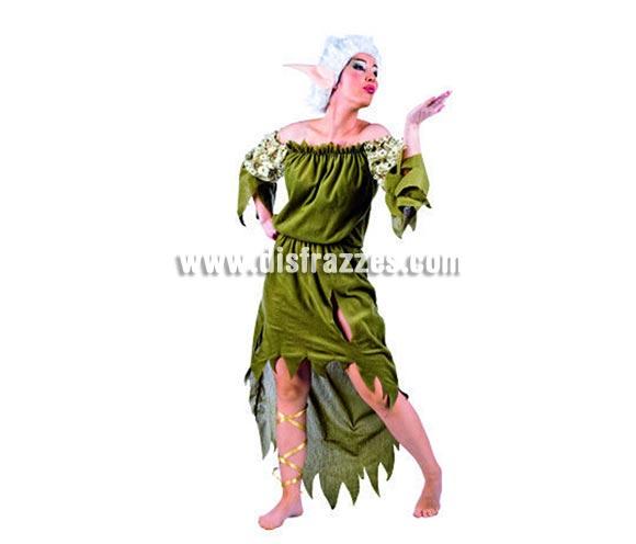 Disfraz de Elfa Nadia adulta deluxe para Carnaval. Incluye vestido, orejas y peluca. Alta calidad. Hecho en España. Disponible en talla M. Traje de Duende mujer para Navidad.