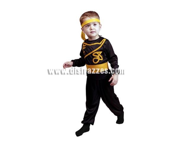 Disfraz barato de Ninja infantil para Carnaval. Talla de 2 a 4 años. Incluye cinta cabeza, camisa, pantalón y cinturón.