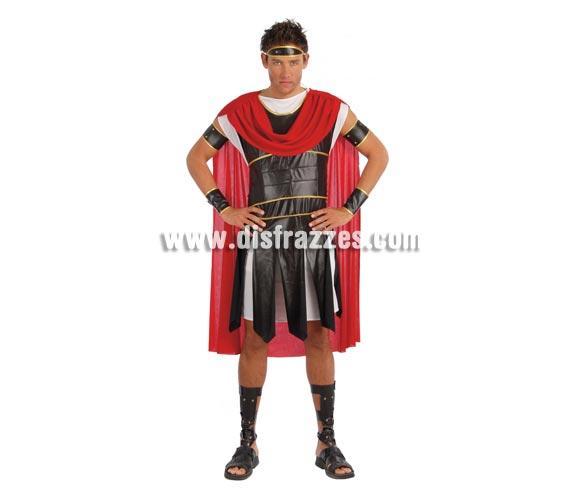 Disfraz de Romano adulto para Carnaval y para Navidad. Talla única 52/54 de hombre. Incluye cinta cabeza, túnica, vestido, capa, brazaletes, mangas y espinilleras.