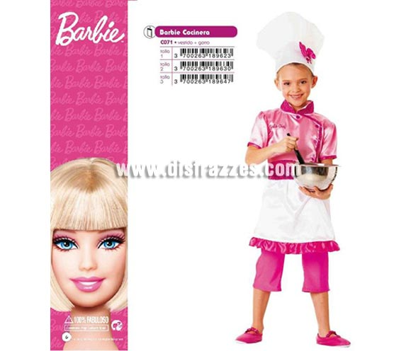 Disfraz de Barbie Cocinera infantil para Carnaval. Varias tallas. Incluye vestido y gorro. Disfraz con licencia MATTEL perfecto como regalo. Éste traje es perfecto para Carnaval y como regalo en Navidad, en Reyes Magos, para un Cumpleaños o en cualquier ocasión del año. Con éste disfraz harás un regalo diferente y que seguro que a los peques les encantará y hará que desarrollen su imaginación y que jueguen haciendo valer su fantasía.  ¡¡Compra tu disfraz para Carnaval o para regalar en Navidad o en Reyes Magos en nuestra tienda de disfraces, será divertido y quedarás muy bien!!