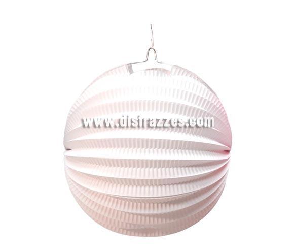 Farol esférico de color blanco de 26 cm. Ideal para decorar tus Fiestas Españolas. ¡¡Compra la decoración para tus Fiestas en nuestra tienda de disfraces, será divertido!!