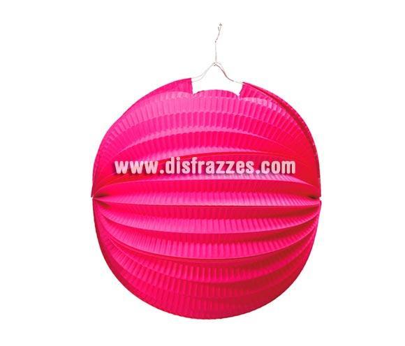 Farol esférico de color Rosa de 26 cm. Ideal para decorar tus Fiestas. ¡¡Compra la decoración para tus Fiestas en nuestra tienda de disfraces, será divertido!!