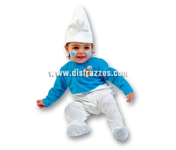 Disfraz de Pitufo Baby para Carnaval. Talla de 3 a 12 meses. Incluye disfraz y gorro.