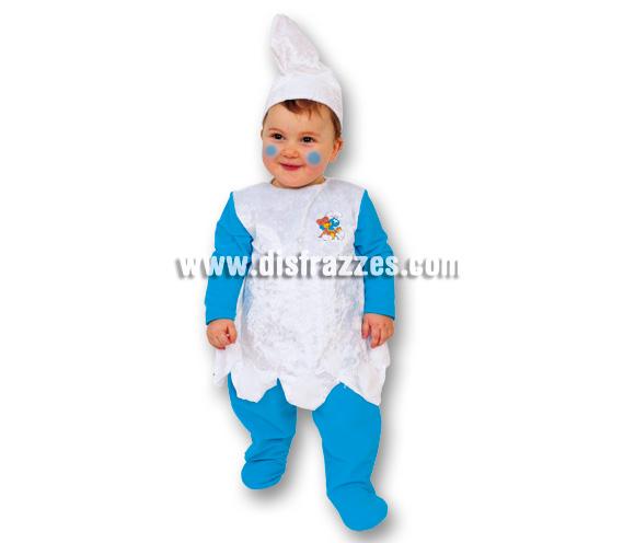 Disfraz de Pitufa o Pitufina Baby para Carnaval. Talla de 12 a 24 meses. Incluye disfraz y gorro.