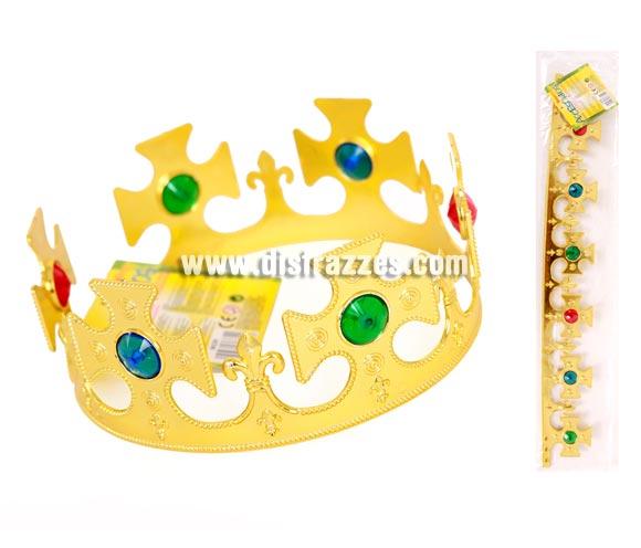 Corona de Rey en color Oro de 71 cm. Sirve tanto para los disfraces de Reyes Medievales, como para los trajes o disfraces de Reyes Magos en Navidad.