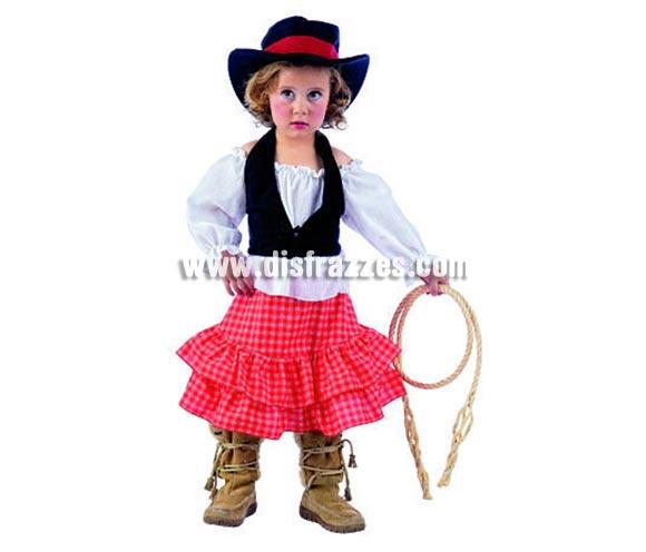 Disfraz de Vaquera Sue infantil deluxe para Carnaval. Varias tallas. Incluye camisa, chaleco, falda y gorro. Alta calidad. Hecho en España.