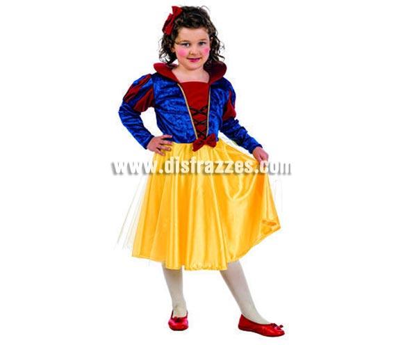 Disfraz de Blancanieves infantil Deluxe para Carnaval. Disponible en varias tallas. Incluye vestido y diadema. Alta calidad pero de una línea más económica. Hecho en España.