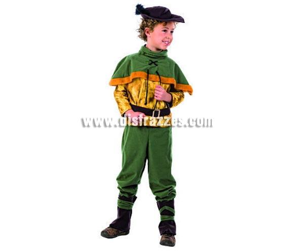 Disfraz de Robin Hood, el Príncipe de los Ladrones infantil Deluxe para Carnaval. Disponible en varias tallas. Incluye camisa, pantalón, capelina, sombrero, cinturón y polainas. Alta calidad pero de una línea más económica. Hecho en España.