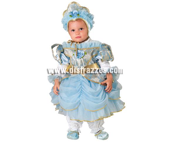 Disfraz de Princesa Azul Baby para Carnaval. Disponible en varias tallas. Incluye disfraz y gorro.