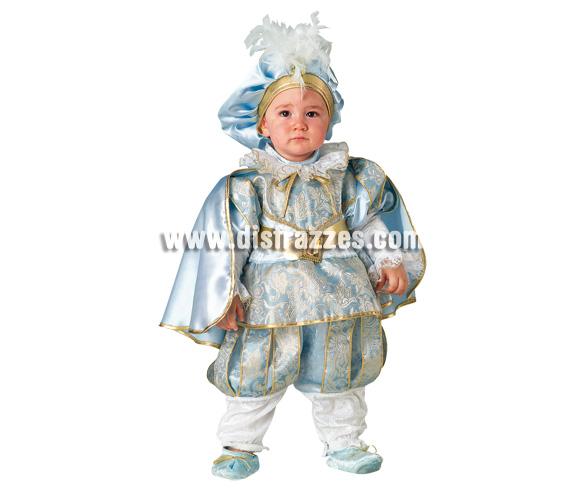 Disfraz de Príncipe Azul Baby para Carnaval. Disponible en dos tallas. Incluye disfraz y gorro. Presentación en percha y bolsa. Buena calidad y precioso diseño.