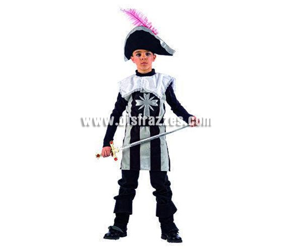 Disfraz de Mosquetero Athos infantil Deluxe para Carnaval. Disponible en varias tallas. Incluye gorro, cubrebotas y casaca con cinturón. Espada NO incluida, podrás verla en la sección Accesorios. Alta calidad pero de una línea más económica. Hecho en España.