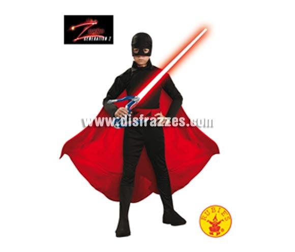 Disfraz de El Zorro Generación Z infantil para Carnaval. Talla de 5 a 7 años. Incluye jumpsuit (mono), capa, cinturón y bandana con antifaz. Disfraz de Diego de la Vega (El Zorro) con licencia perfecto para regalar. Éste traje es perfecto para Carnaval y como regalo en Navidad, en Reyes Magos, para un Cumpleaños o en cualquier ocasión del año. Con éste disfraz harás un regalo diferente y que seguro que a los peques les encantará y hará que desarrollen su imaginación y que jueguen haciendo valer su fantasía.  ¡¡Compra tu disfraz para Carnaval o para regalar en Navidad o en Reyes Magos en nuestra tienda de disfraces, será divertido y quedarás muy bien!!