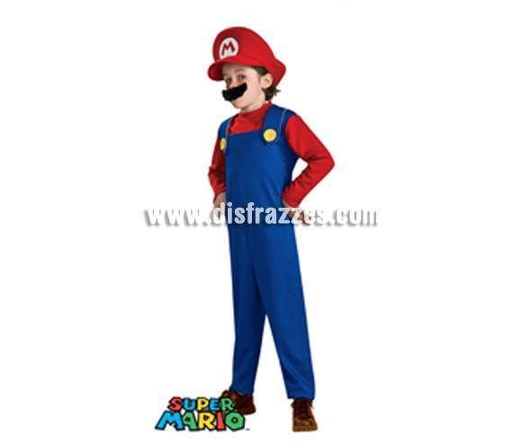 Disfraz de Mario Bros con bigote infantil para Carnaval. Talla de 5 a 7 años. Incluye jumpuit (mono), sombrero y bigote. Disfraz con licencia perfecto para regalar. Éste traje es perfecto para Carnaval y como regalo en Navidad, en Reyes Magos, para un Cumpleaños o en cualquier ocasión del año. Con éste disfraz harás un regalo diferente y que seguro que a los peques les encantará y hará que desarrollen su imaginación y que jueguen haciendo valer su fantasía.  ¡¡Compra tu disfraz para Carnaval o para regalar en Navidad o en Reyes Magos en nuestra tienda de disfraces, será divertido y quedarás muy bien!!