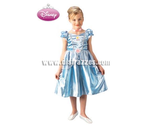 Disfraz de Cinderella Classic infantil para Carnaval. Talla de 7 a 8 años. Incluye vestido y gargantilla. Disfraz de Cenicienta clásica con licencia Disney perfecto como regalo.