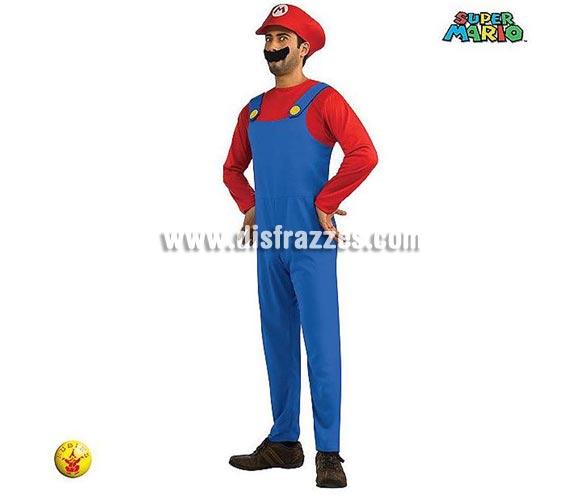 Disfraz de MARIO BROS con bigote adulto para Carnaval. Talla estándar de hombre. Incluye jumpsuit (mono), sombrero y mostacho. Disfraz con licencia ideal para Carnavales.
