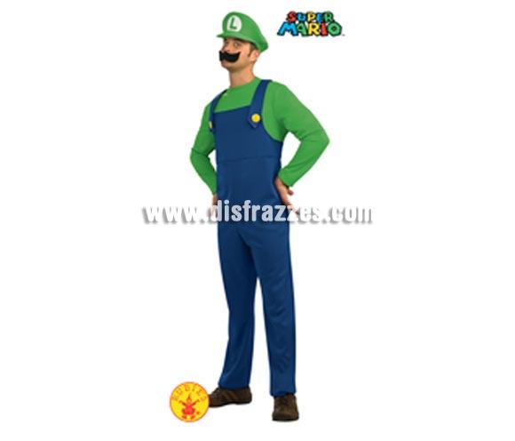 Disfraz de LUIGI adulto con bigote pata Carnaval, el amigo de MARIO BROS. Talla estándar de hombre. Incluye jumpsuit (mono), sombrero y mostacho. Disfraz con licencia ideal para Carnavales.