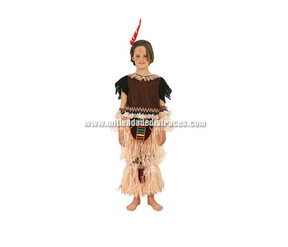 Disfraz de indígena de Tribu Africana con flecos. Talla de 7 a 9 años. Incluye disfraz. También puede servir como disfraz de Indio.