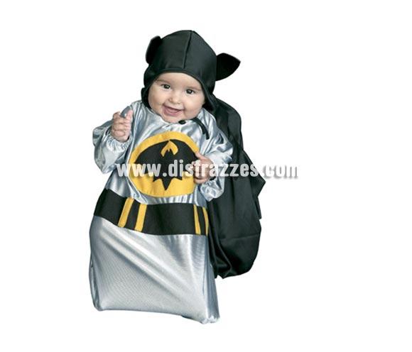 Disfraz de Murciélago bebé para Carnaval. Talla de 0 a 6 meses. Incluye saquito y capucha con capa. Será el fan más pequeño de Batman.