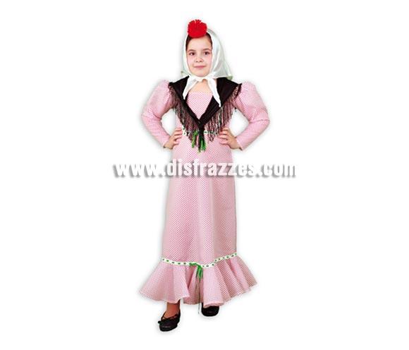 Disfraz de Madrileña o Chulapa barato con mantón negro infantil para Carnaval o para la Feria de San Isidro. Talla de 5 a 6 años. Incluye vestido, pañuelo de la cabeza y mantoncillo negro.