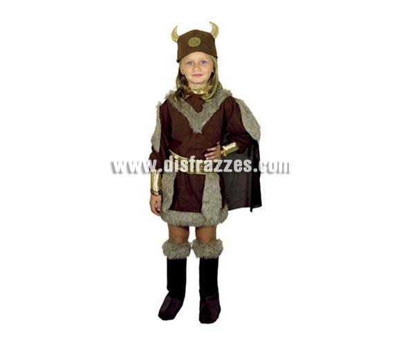 Disfraz de Vikinga infantil barato para Carnaval. Talla de 7 a 9 años. Incluye vestido con capa, cubrebotas, cinturón y casco de tela.
