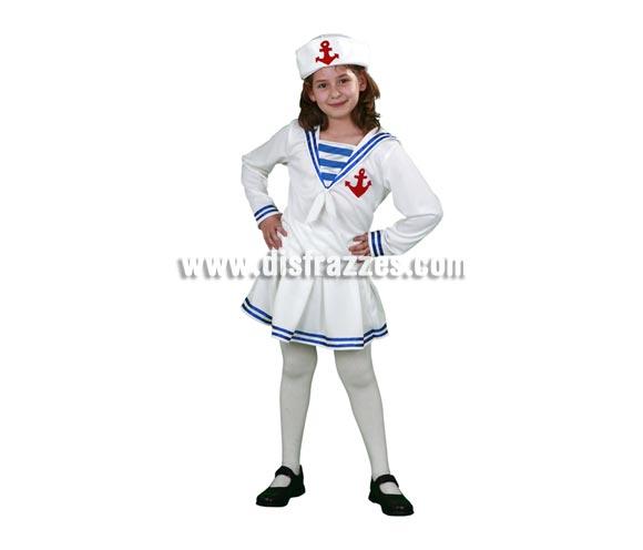 Disfraz de Marinera infantil barato para Carnaval. Talla de 5 a 6 años para niñas. Incluye camisa, falda y gorro. Éste traje de Marinera para Carnaval es ideal para divertirse en las Fiestas de Carnavales.