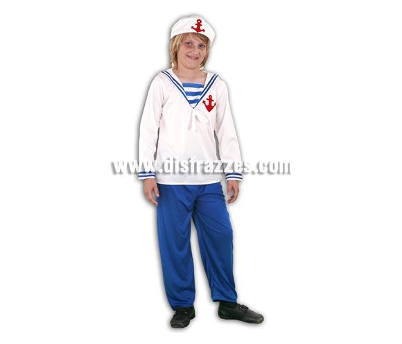 Disfraz de Marinero infantil barato para Carnaval. Talla de 7 a 9 años. Incluye gorro, camisa y pantalón. Éste disfraz de Marinero de niño para Carnaval es ideal para divertirse en las Fiestas de Carnavales.