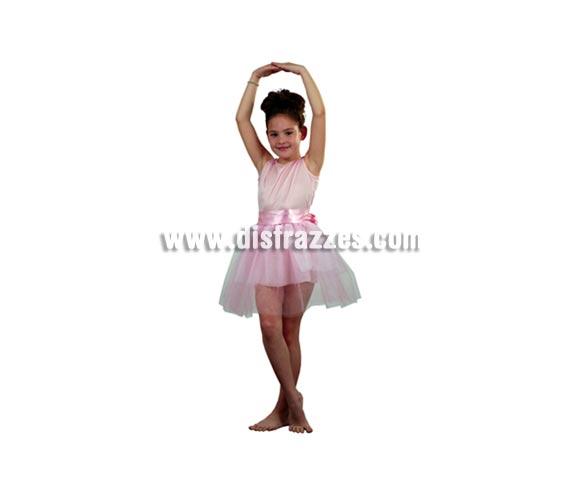 Disfraz de Bailarina rosa infantil barato para Carnaval. Talla de 5 a 6 años. Incluye cuerpo con tutú.
