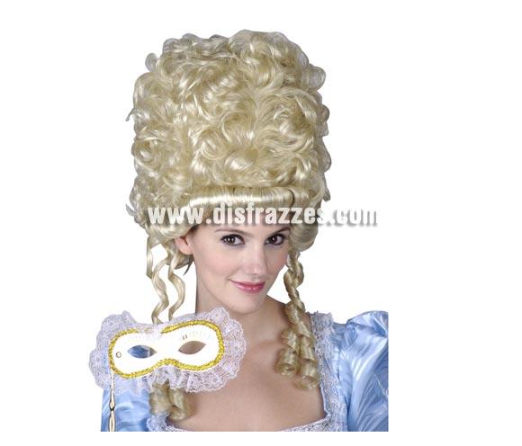 Peluca de Princesa de la Nobleza rubia para mujer. Talla Universal adultos. Ideal como complemento de tu disfraz de Época.