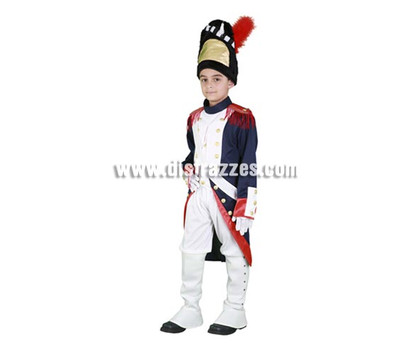 Disfraz de Granadero infantil para Carnaval. Talla de 3 a 4 años. Incluye sombrero, chaqueta, banda, pantalón, polainas y guantes. Disfraz de Soldado Francés para niños.