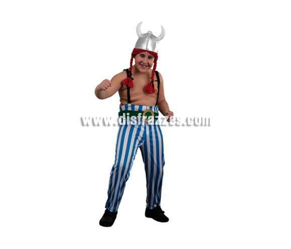 Disfraz de Obélix infantil barato para Carnaval. Talla de 5 a 6 años. Incluye casco, pantalones con cinturón y tirantes.