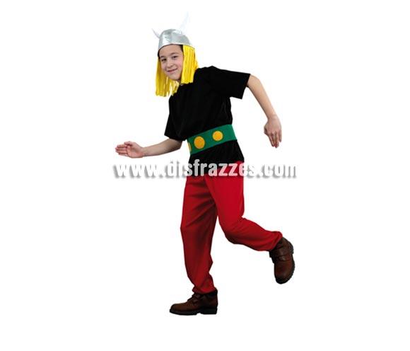 Disfraz de Galo o Astérix infantil barato para Carnaval. Talla de 10 a 12 años. Incluye casco, camisa, cinturón y pantalón.