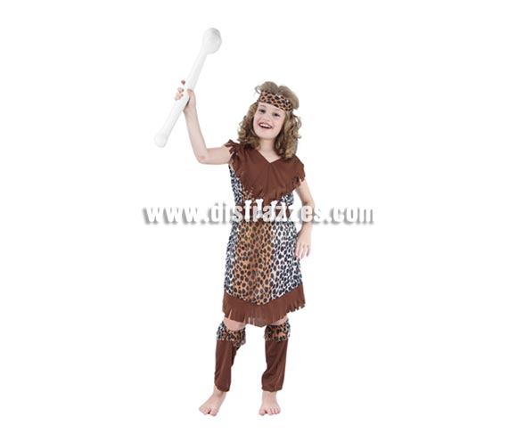 Disfraz de Cavernícola o Troglodita niña barato para Carnaval. Talla de 10 a 12 años. Incluye vestido, cinturón, cinta del pelo y espinilleras.