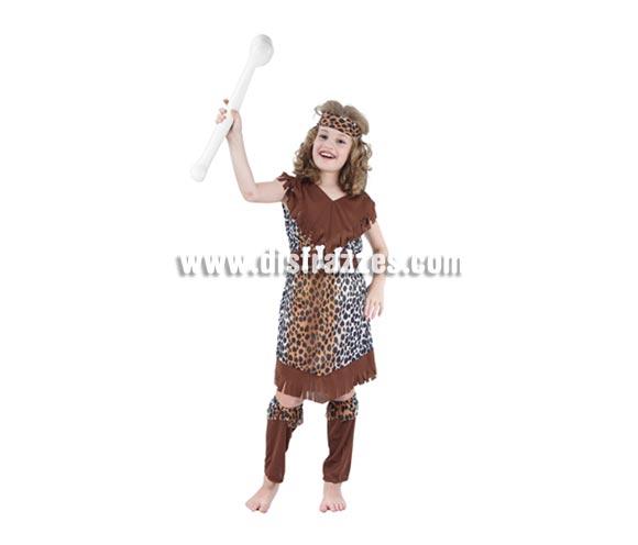 Disfraz de Cavernícola niña barato para Carnaval. Talla de 5 a 6 años. Incluye vestido, cinturón, cinta del pelo y espinilleras.