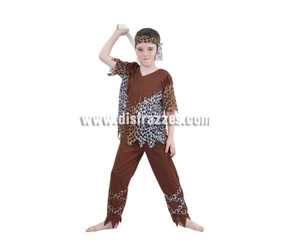 Disfraz de Cavernícola niño barato para Carnaval. Talla de 5 a 6 años. Incluye camisa, pantalón y cinta del pelo.