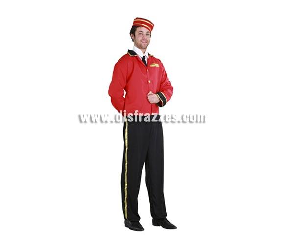Disfraz de Botones adulto para Carnaval. Talla Standar M-L 52/54. Incluye sombrero, camisa, corbata, chaqueta y pantalón.  Hace pareja con la ref. 09173BT que es el disfraz de Botones de chica.