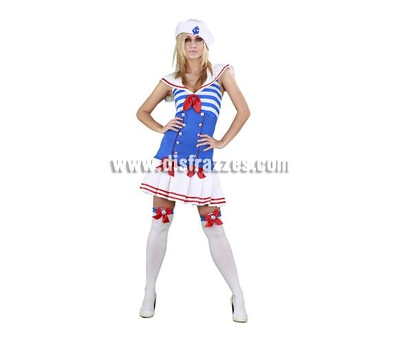 Disfraz de Marinera Sexy adulta para Carnaval. Talla Standar M-L 38/42. Incluye vestido, gorro y ligueros. Medias NO incluidas, podrás verlas en la sección de Accesorios.