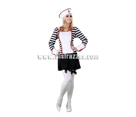 Disfraz de Marinera adulta para Carnaval. Talla Standar M-L 38/42. Incluye gorro y vestido, la falda y las rayas son de color negro.