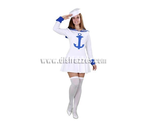 Disfraz de Marinera mujer para Carnaval. Talla Standar M-L 38/42. Incluye vestido y gorro.