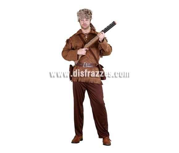 Disfraz de Trampero adulto para Carnaval. Talla Standar M-L 52/54. Incluye gorro, chaqueta, cinturón, pantalón y bandolera.
